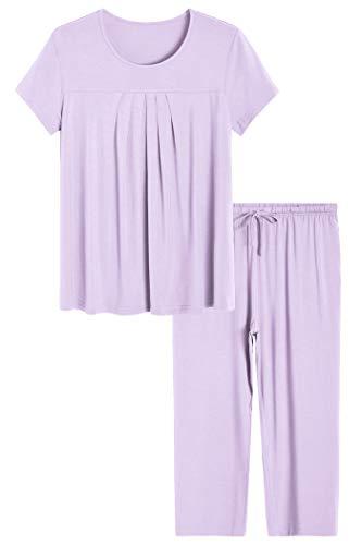 Latuza Women's Pajamas Pleated Loungewear Top and Capris Pjs Set S Purple ()