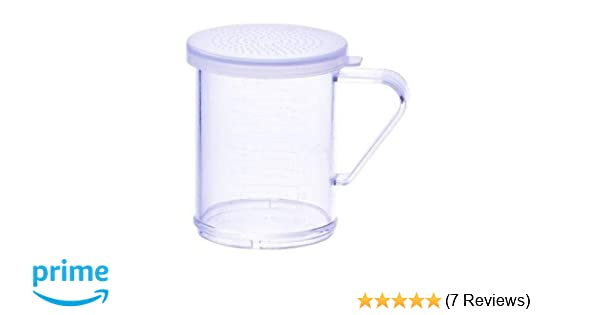 10oz Dredge with Clear Snap-on Lid Small Hole Winco PDG-10CS
