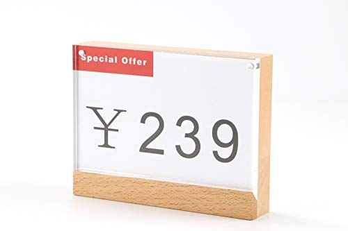 Glass figurines Picture Frame - A6 Table Sign Display Stand Price Tag Display Desk Sign Holder Wood Picture Frame Magnet Acrylic Block Frame Paper Label Holder