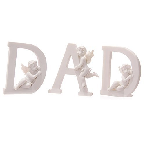 Set of 3 Angel Cherub DAD Letters Ornaments Figures Grave Memorial by Funky Gadget Store