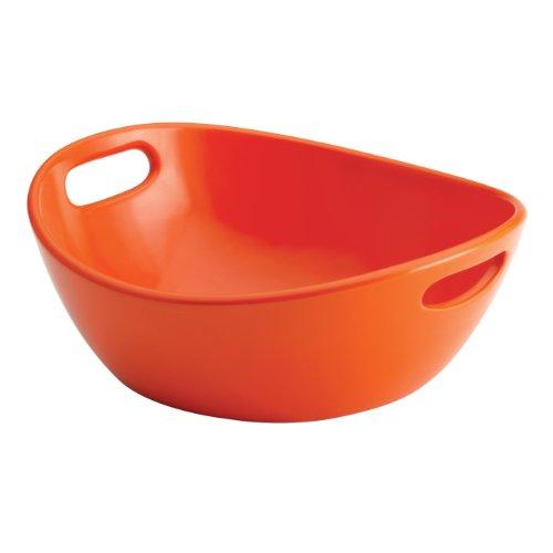 Rachael Ray Serveware 10-Inch Round Stoneware Serving Bowl, Orange