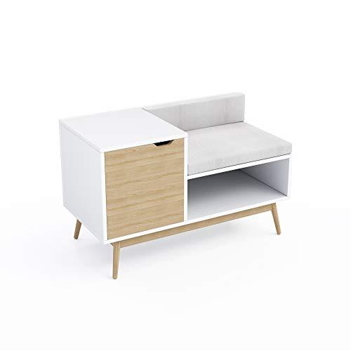 Jamesdar JBBEN427-KD Blythe Sectional Storage Bench, White/Natural