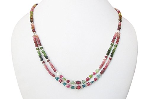Handmade Beaded Gemstone Jewelry (Watermelon Tourmaline Multi strand Beaded necklace with 925 Silver findings 16