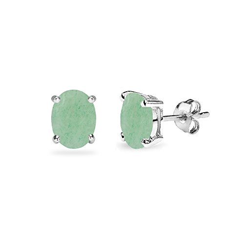 Sterling Silver Cabochon Stone Oval 6x4mm Prong-set Stud Earrings