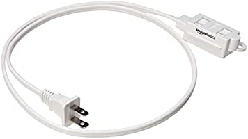 AmazonBasics Indoor 2 Prong Extension Power Cord Strip - Standard Plug, 3 Foot, Pack of 2, White