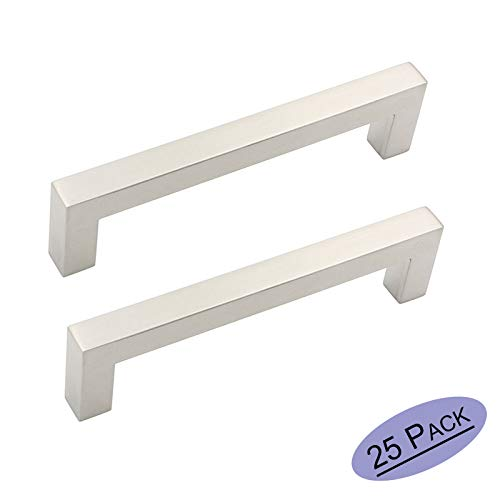 25 Pack Cabinet Handles Brushed Nickel Drawer Pulls Kitchen Hardware - Goldenwarm J12BSS128 Square Kitchen Pulls for Cabinets Stain Nickel Modern Cabinet Pulls 5in(128mm) Hole Centers (Best Stain For Kitchen Cabinets)
