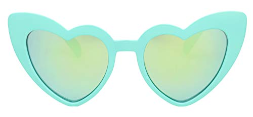 ShadyVEU - Trendy Kids Heart Shaped Love Colorful Girls Toddlers Ages 2-6 Yrs. Oversize Sunglasses (Teal, Teal Mirror) -