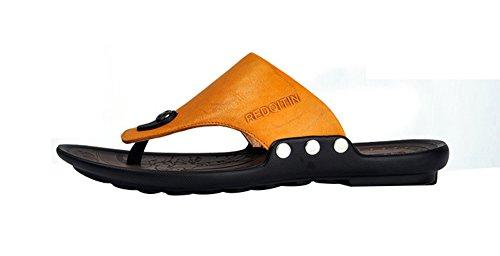 ... Mobnau Menns Skinn Mote Thong Sandaler Flip Flops Gul ...