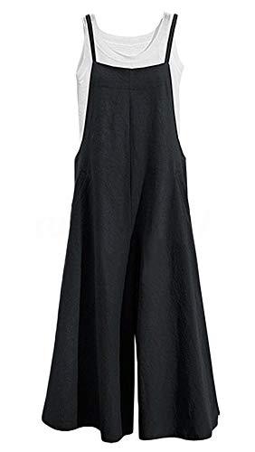 - Women's Jumpsuits, Casual Long Rompers Wide Leg Baggy Bibs Overalls Harem Pants - Plus Cotton Linen Jumpsuits Black