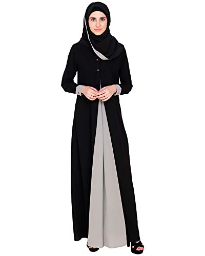 Modest Forever Grey Layerd Abaya Burkha for Women
