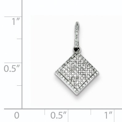 0.23 cttw, I1-I3 Clarity, I-J Color Sterling Silver Diamond Square Pendant 14x13mm
