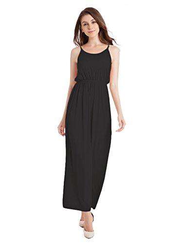 TOTOFITS Women's Summer Cotton Knit Long Casual Maxi Dress Spaghetti Strap Sleeveless Slip Cami Dresses (Black, ()