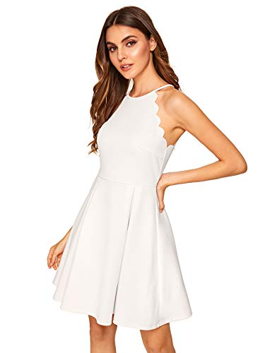 Romwe Women's Sweet Scallop Sleeveless Flared Swing Pleated A-line Skater Dress White XS