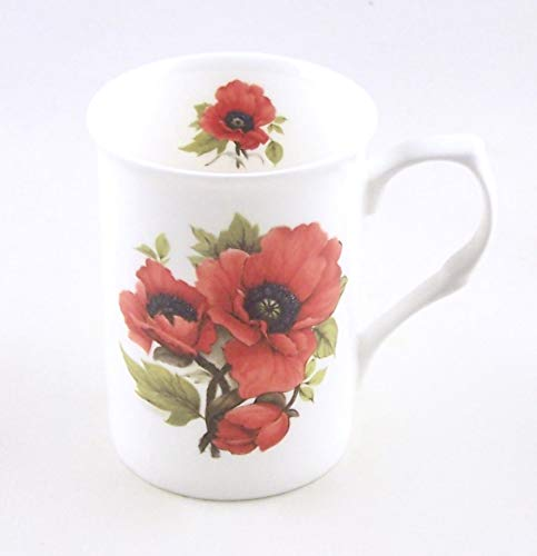 (Autumn Poppy Chintz - Fine English Bone China Mug - England)