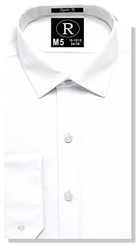 Real Cotton Mens Regular Fit Dress Shirt or Tuxedo Shirt 100% Cotton, Spread Collar, White, 19-20