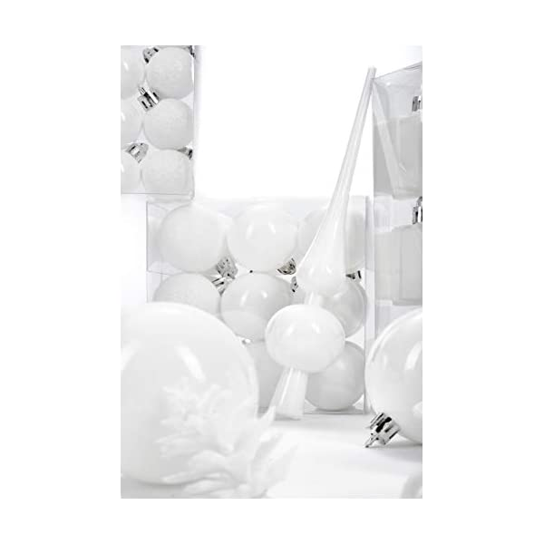 Brubaker Set di 101 Accessori Decorativi per L'Albero di Natale - addobbi Natalizie in Color Bianco - Diverse Forme di Palline ed Un Puntale per Albero di Natale 6 spesavip