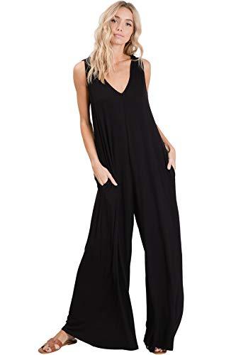 Annabelle Women's Knit Jumpsuit Featuring Solid Full Length V Neck Sleeveless Wide Straight Leg Loose Fit with Hoodie and Pockets Black Small J8060