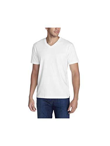 (Eddie Bauer Men's Legend Wash Pro Short-Sleeve V-Neck T-Shirt, White Regular L)