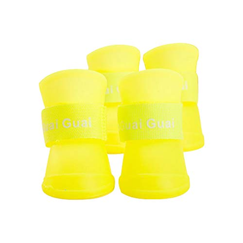 Spring Fever Small Large Dog Anti-Slip Rain Waterproof Candy Colors Boots Walking Shoes Yellow M