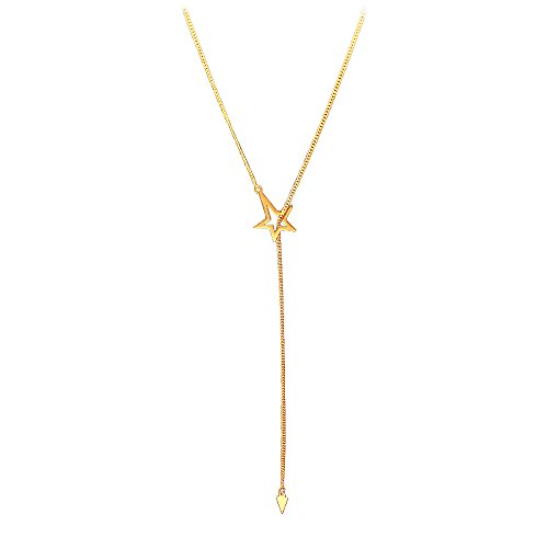 Open Heart Lariat Necklace - OUMOU Dainty Letter Star Lariat Necklace Simple Y Necklaces Pendant Layering Chain - Versatile Can be Used as Bracelet Anklet Multiple Layer (Gold Star)