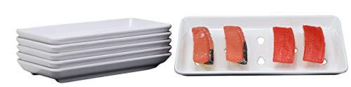 Ebros Gift Japanese Raw Food Preparation And Storage White Neta Zara Melamine Sushi Sashimi Chef Serving Plate With Drip Holes For Sushi Case 8.25