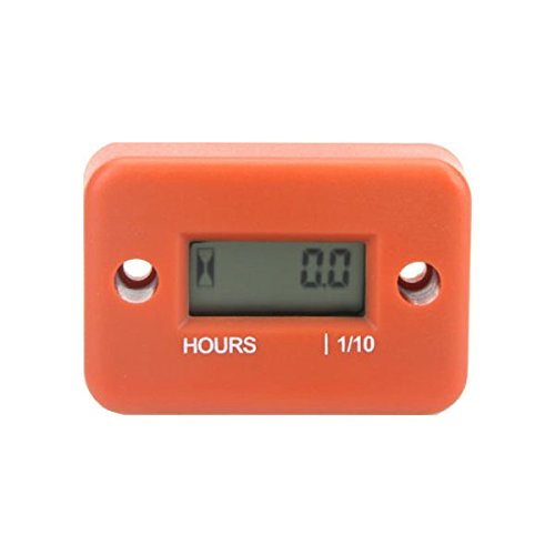 GXG-1987 Waterproof LCD Inductive Hour Meter for Lawn Mower, Champion Generator, Riding Mower, Dirt Quad Bike ATV Motorcycle Snowmobile Jet Ski Boat Pit Bike Motorbike MX Marine - Orange by GXG-1987