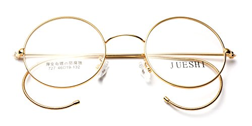 AMILLET Kids Vintage Cable Temple Round Metal Eyeglass Frames (Gold, - Cable Eyeglasses Temples With