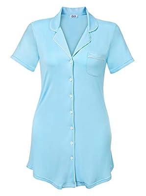 Amorbella Womens Short Sleeve Nightgown Button Down Nightshirt Bamboo Sleep Shirt Soft Pajama Top