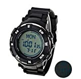 Multi-functional Rubber Band Compass Military Sport Watches with LED Display For Outdoor Climbing 3ATM Waterproof World Time - White