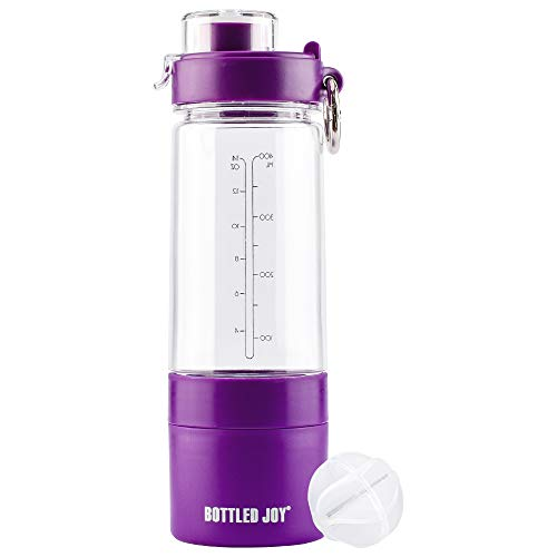 BOTTLED JOY Protein Shaker Bottle with 2-Layer Twist and Lock Storage Container - Tritan Lady Sports Protein Mix Fit Shaker Water Bottle 480ml 16oz 16 Ounce (Violet)