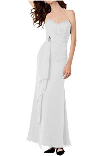 Einfach Brautjungfernkleider Bodenlang La Traegerlos Abendkleider mia Geraft Chiffon Braut Weiß Partykleider U4UwExzY