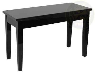 30 Inch Ebony Polished Long Upright Duet Hard Top Piano Bench w/ Music Storage in Square Tapered Legs ()