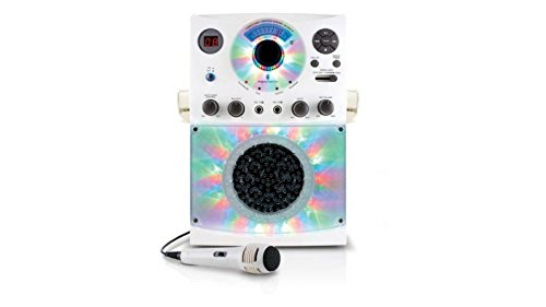 Singing Machine Wireless Microphone - Bluetooth Karaoke System with LED Disco Lights, CD+G, and Microphone White