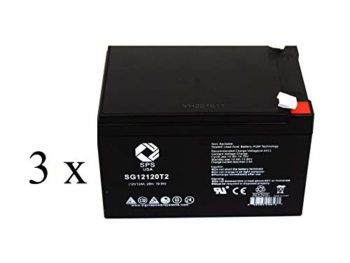 SPS Brand 12V 12Ah Replacement Battery for Peg Perego Vespa Scooter (3 Pack) ()