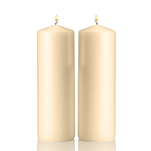 Light In The Dark Ivory Pillar Candles - Set of 2 Unscented Candles - 9 inch Tall, 3 inch Thick - 90 Hour Clean Burn Time