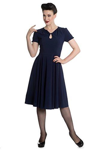 Hell Bunny Riley Retro 40er Jahre Kleid XS - 4XL Marineblau