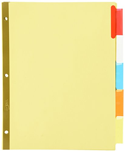 Avery(R) Worksaver(R) Insertable Big Tab Recycled Dividers, Gold Reinforced, 5-Tab, Buff Paper, Multicolor