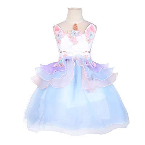 Girls Unicorn Costume Party Dress Tutu Kids Cute Flower Princess Pageant (3T) -