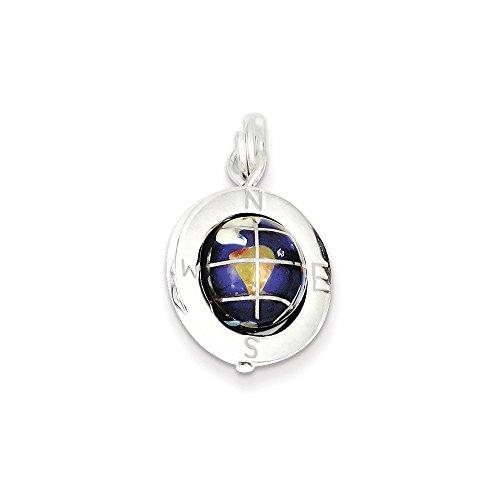 Enameled Globe Charm - .925 Sterling Silver Enameled Globe Charm Pendant