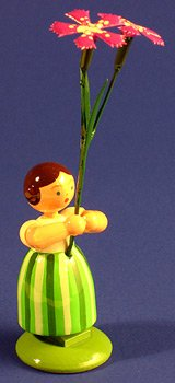 Dregano Country Girls Flowers Figurine Sweet William