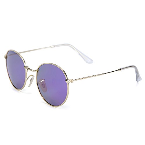 YJMILL New Color film Polarized Sunglasses Retro Pilots Riding Travel Sports Round Sunglasses Men And Women 3447-2 (purple, - De Vue Lunette