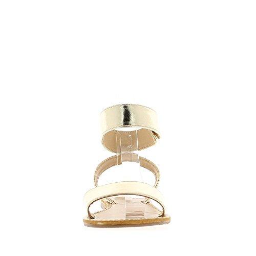 A piedi nudi femminili d'oro talonette 0,5 cm con ampie flange