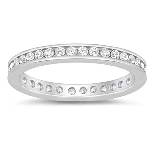 Blue Apple Co. 2.5mm Eternity Style Band Ring Channel Setting Round Cubic Zirconia 925 Sterling Silver Size-8
