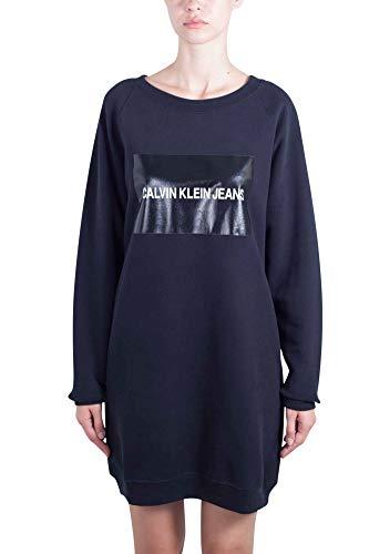 Donna in Klein Calvin felpa JEANS box logo cotone Abito L Taglia nero di con qaxH1xIEw