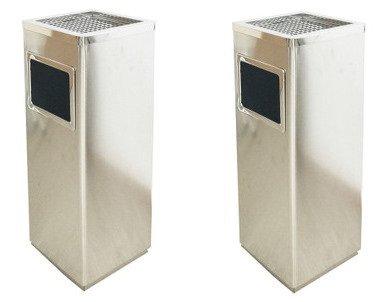2個セット ゴミ箱付き灰皿 A-083H 角型 シルバー 灰皿 業務用ゴミ箱 屋外灰皿 スタンド灰皿 屋外用灰皿 業務用 分煙 公共施設 ホテル レストラン ショッピングセンター B078NQHBB3 10980