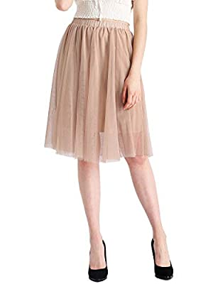 DittyandVibe Womens High Waist Pleated Sheer A-Line Tulle Skirts
