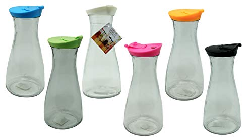 Pitcher Carafes with Lids 30 oz (6 Pack) Lid Colors Vary Beverages Container Decanter Juice - Carafe Color