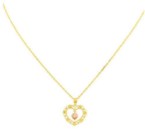 10k Gold Designer Heart Pendant - 7