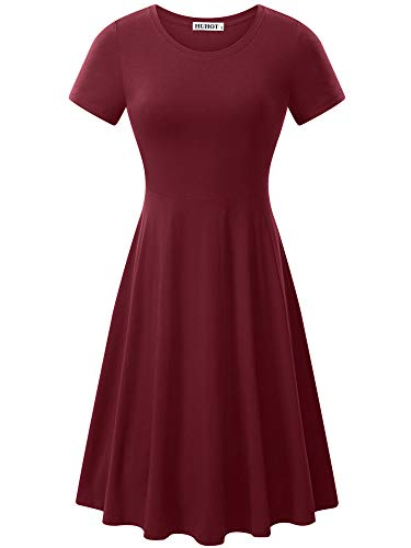 HUHOT T Shirt Dress Women Short Sleeve Round Neck Solid Casual Flared Midi Dress Small Burgundy