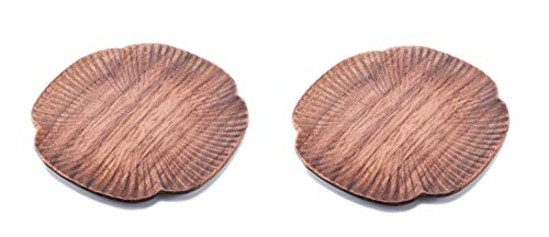 (Islandoffer A Set of Two Premium Walnut Wooden Coasters (Clover))